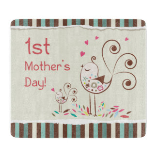 Happy First Mother's Day, Cute Birds on Stripes Cutting Board