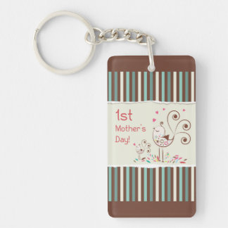 Happy First Mother's Day, Cute Birds on Stripes Double-Sided Rectangular Acrylic Keychain