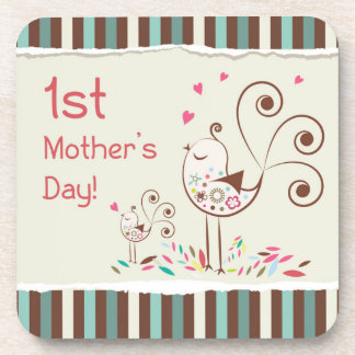 Happy First Mother's Day, Cute Birds on Stripes Drink Coaster