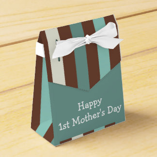 Happy First Mother's Day, Cute Birds on Stripes Favor Box