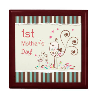 Happy First Mother's Day Cute Birds on Stripes Trinket Boxes