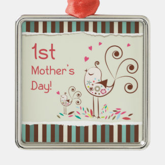 Happy First Mother's Day, Cute Birds on Stripes Metal Ornament