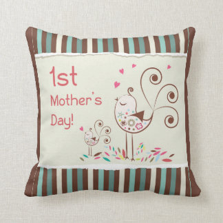 Happy First Mother's Day, Cute Birds on Stripes Throw Pillows