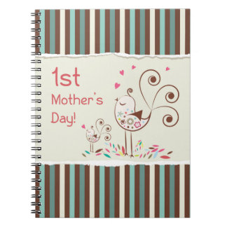 Happy First Mother's Day, Cute Birds on Stripes Spiral Notebook