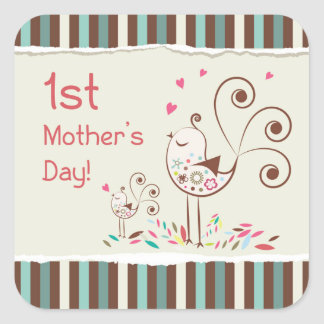 Happy First Mother's Day, Cute Birds on Stripes Square Sticker