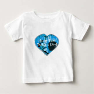 """""""Happy First Mother's Day"""" - Blue Sunflowers/Heart Baby T-Shirt"""