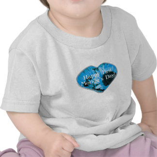 """""""Happy First Mother's Day"""" - Blue Sunflowers/Heart T Shirts"""