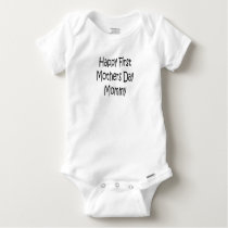 Happy First Mothers Day Mommy Baby Gerber Cotton Baby Onesie