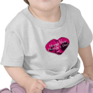 """""""Happy First Mother's Day"""" - Pink Sunflowers/Heart Tshirt"""