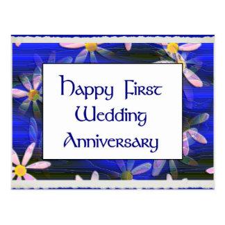 Happy First Wedding Anniversary Postcard