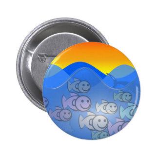 Happy Fish 2 Inch Round Button