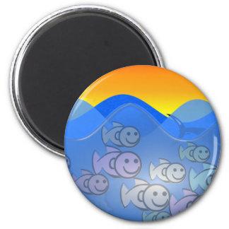 Happy Fish 2 Inch Round Magnet