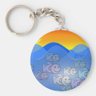 Happy Fish Basic Round Button Keychain