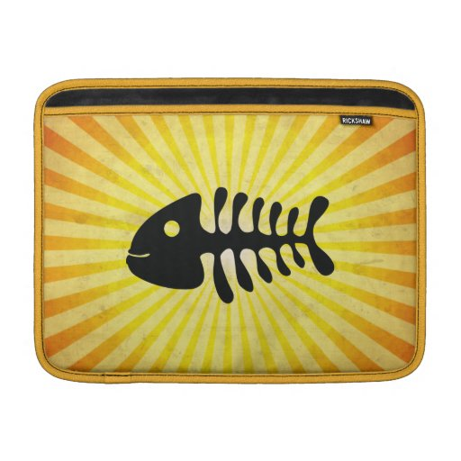 Happy Fish Bones; Yellow Sleeves For MacBook Air