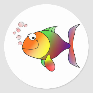 Happy Fish ~ Bubbles Classic Round Sticker