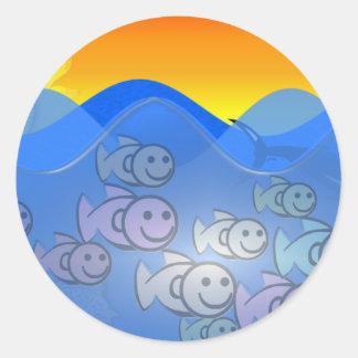 Happy Fish Classic Round Sticker