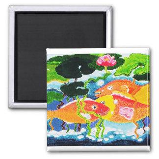 Happy fish 2 inch square magnet