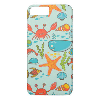 Happy Fish Marine Pattern iPhone 7 Plus Case