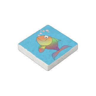 Happy fish stone magnet