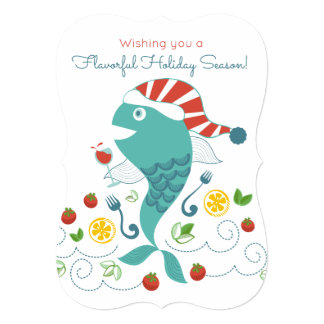 Happy fish wine chef restaurant catering Christmas Card