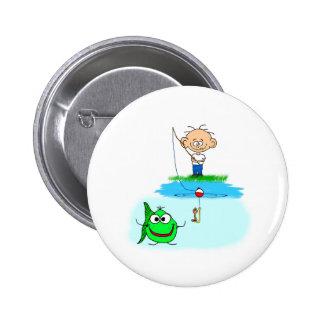 happy fishing pinback button