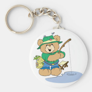 Happy Fishing Fisherman Bear Basic Round Button Keychain