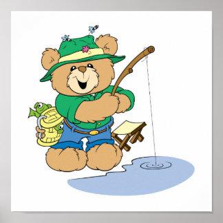 Happy Fishing Fisherman Bear Poster