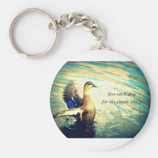 Happy flapping duck in water keychain