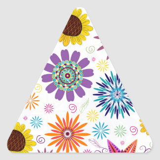 Happy floral pattern triangle sticker