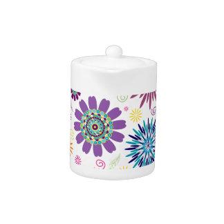 Happy floral pattern teapot