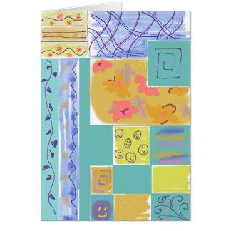 Happy Floral Stripey Blocks Notecard