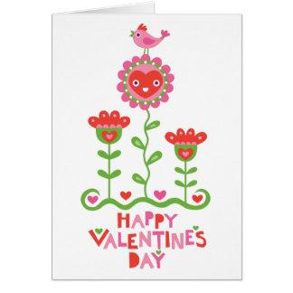 Happy Flower and Bird Valentine Card