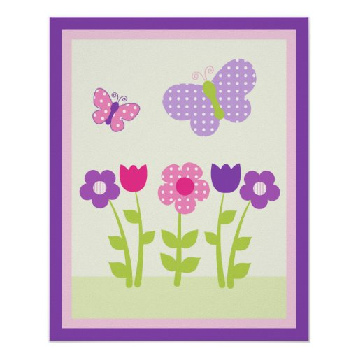 Happy Flower & Butterfly2 Wall Art Poster/Print