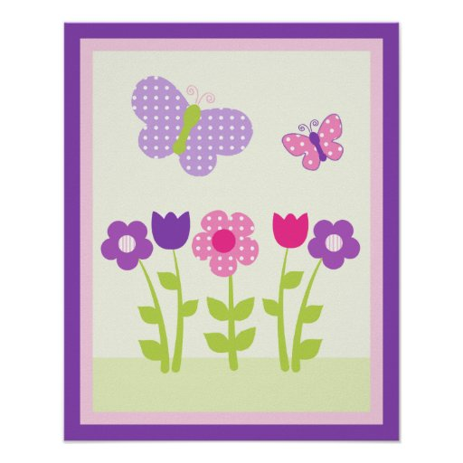 Happy Flower & Butterfly3 Wall Art Poster/Print