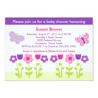 Happy Flower & Butterfly Baby Shower Invitation