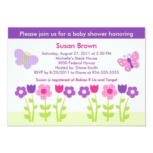 happy flower butterfly baby shower invitation zazzle