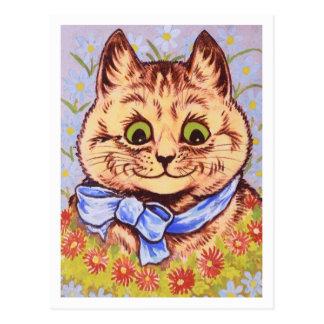 Happy Flower Cat by Louis Wain Postcard