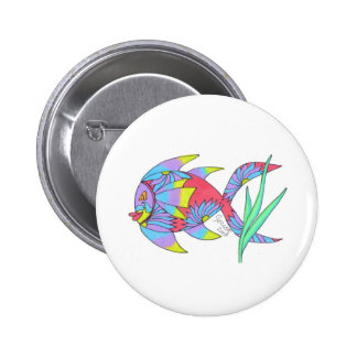 Happy Flower Fish Pinback Buttons