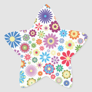Happy flower power star sticker