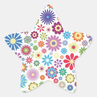 Happy flower power star stickers
