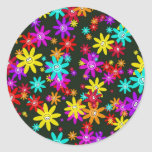 Happy Flower Wallpaper Classic Round Sticker