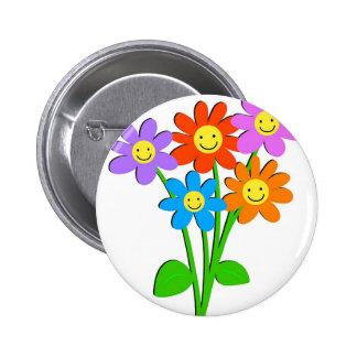 Happy Flowers 2 Inch Round Button