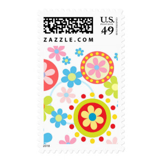 Happy flowers and dots postage stamp