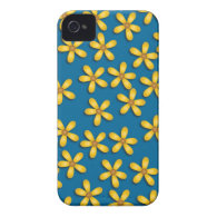 Happy Flowers Blue iPhone 4 Case