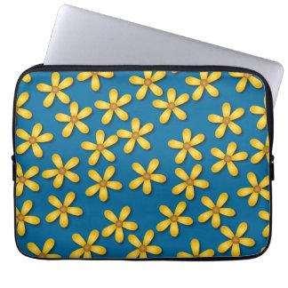 Happy Flowers Blue Laptop Sleeve