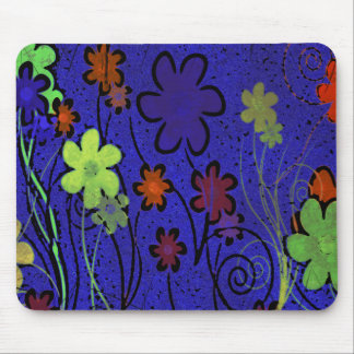 HAPPY FLOWERS BLUE MOUSE PAD