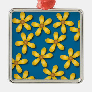 Happy Flowers Blue Square Ornament