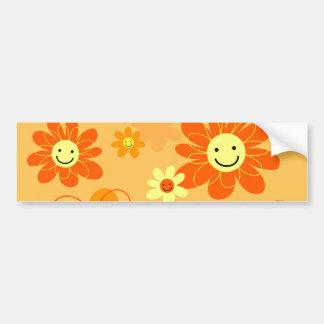 Happy Flowers Car Bumper Sticker