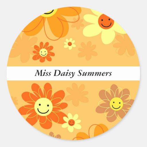 Happy Flowers Classic Round Sticker