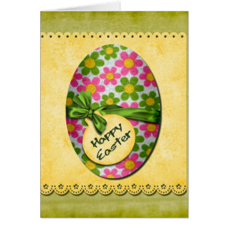 Happy Flowers Easter Egg Cards